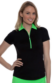 Jofit Women's Melon Ball Pop Collar Short Sleeve Golf Polo Shirt