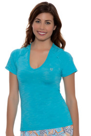 Eleven Women's Geo Swirl Studio V-Neck Solid Tennis Shirt