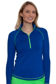 Jofit Women's Melon Ball Jacquard Long Sleeve Mock Golf Top