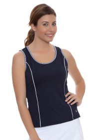 Fila Women's  Gingham Navy Full Coverage Tennis Tank with Gingham Trim