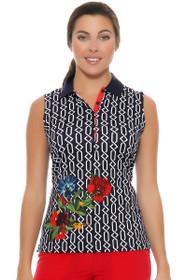 EP Pro Women's Rittenhouse Geo Floral Print Sleeveless Golf Polo