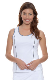 Fila Women's  Gingham White Full Coverage Tank with Gingham Trim