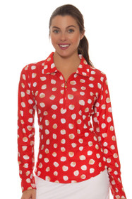 Sansoleil Women's  SunGlow Spot On Red Print Long Sleeve