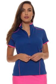 EP Pro Women's Sugar Rush Contrast Piped Zip Mock Golf Polol Shirt