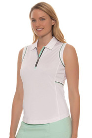 EP Pro Women's Paradise Found Contrast Piped Sleeveless Golf Polo Shirt