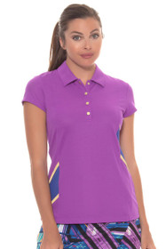 EP Sport Women's Obsidian Tanzanite Color Blocked Golf Polo Shirt
