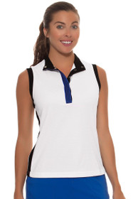 GGBlue Women's Black Diamond Thea Mock Golf Sleeveless Shirt
