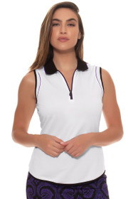Greg Norman Women's El Morado Contrast Trim Sleeveless Golf Polo Shirt