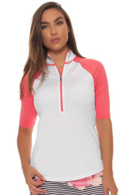 Jofit Women's Cabernet Maraschino Elbow Sleeve Golf Top
