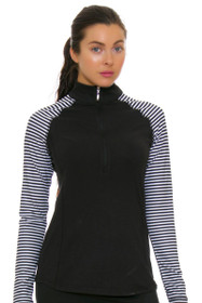 Jofit Women's Cabernet Brushed Long Sleeve Mock Golf Top