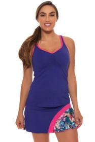 """Sofibella Women's Fiji Spiral Flounce 15"""" Tennis Skirt"""
