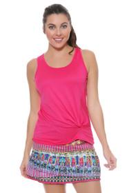 Lucky In Love Women's Print Medley Disco Gypsy Long Pleat Tier Pink Tennis Skirt