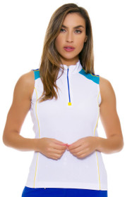 EP Ipanema Zip Mock Color Blocked Sleeveless Golf Shirt