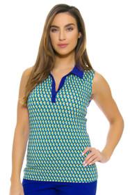 EP Ipanema Linear Geo Print Sleeveless Golf Shirt