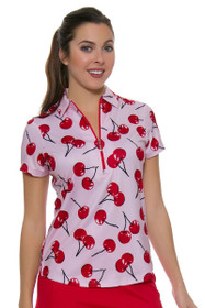 Jofit Women's Barossa Sport Printed Zip Golf Polo Shirt