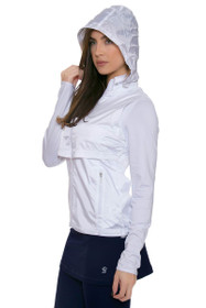 Cutter and Buck Women's White Ava Hybrid Full Zip Jacket