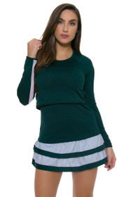 Lucky In Love Women's Green With Envy Dot To Dot Border Tier Tennis Skirt