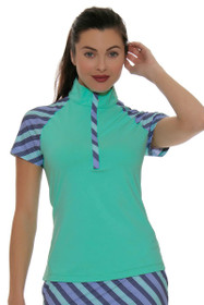 Fairway and Green Shore Line Frankie Zip Mock Golf Polo