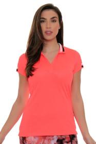 EP Sport Women's Mahalo Luau Split Mock Golf Short Sleeve Shirt