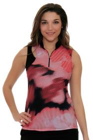 EP Sport Women's Mahalo Aloha Floral Blocked Golf Sleeveless Shirt