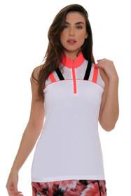 EP Sport Women's Mahalo Maui Zip Mock Golf Sleeveless Shirt