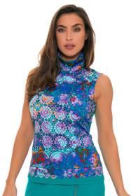 EP Pro Women's Cassis Convertible Zip Collar Sleeveless Print Golf Polo Shirt