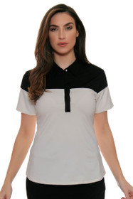 Cutter & Buck Women's Simone Snow James Colorblock Golf Short Sleeve Shirt