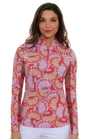 Icikuls Women's Alisa Mock Pink Sun Shirt