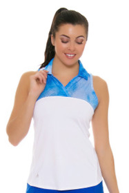 Adidas Women's Merch Mesh Print White Blue Golf Sleeveless Shirt