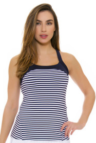 Fila Women's  Heritage Twisted Back Navy Stripe Tennis Tank
