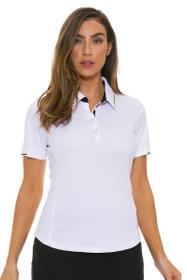 Greg Norman Women's Calypso ML75 Contrast Trim White Golf Short Sleeve