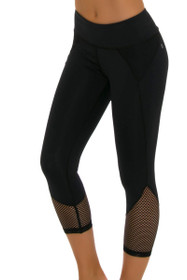 ChiChi Active Women's Demi Mesh Black Workout Capri