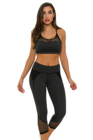 ChiChi Active Women's Demi Mesh Heather Charcoal Workout Capri