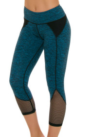 ChiChi Active Women's Demi Mesh Turquoise Workout Capri