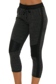 ChiChi Active Women's Michelle Cropped Moto Charcoal Workout Jogger