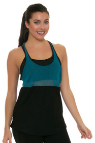 ChiChi Active Women's Nicky Black Turquoise Workout Tank