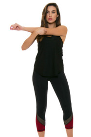 ChiChi Active Women's Tatiana Black Hollywood Red Workout Capri