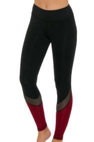 ChiChi Active Women's Tatiana Black Hollywood Red Workout Legging