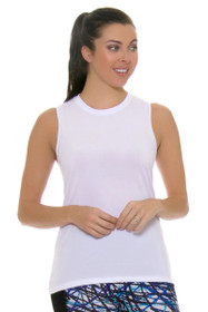 PrismSport Women's Muscle Tee White Workout Top
