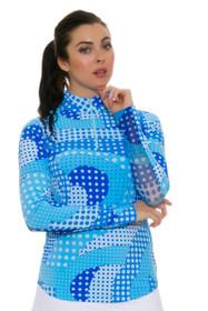 Icikuls Women's Neon Dots Blue Mock Sun Shirt