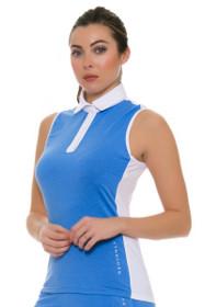 Redvanly Women's Gratten White and Blue Golf Sleeveless