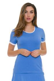 Redvanly Women's Clark Crew Blue and White Tennis Short Sleeve