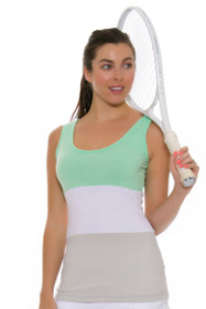 Redvanly Women's Hart Green White Grey Tennis Tank