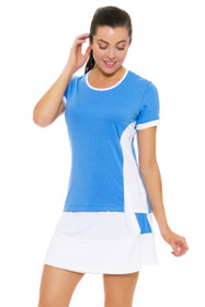 Redvanly Women's Decatur White and Blue Tennis Skirt