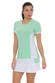 Redvanly Women's Decatur White and Green Tennis Skirt