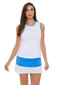 "Sofibella Women's Triumph Layered Flounce 14"" Sky Blue Tennis Skirt"