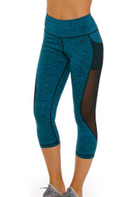 TLF Women's Spring Roam Jade Heather Workout Capri