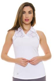 Adidas Women's White Merch Print Golf Sleeveless Shirt