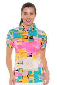 Jamie Sadock Women's Yum Yum Tile Print Golf Short Sleeve Polo