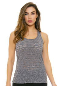 Oiselle Women's Heather Grid  Heather Charcola Workout Layering Tank